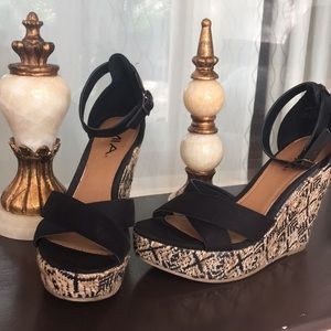 Shoes - MIA strappy black boho wedges sandals